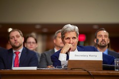 U.S. Secretary of State John Kerry listens to opening statements on July 29, 2015, before he joined U.S. Defense Secretary Ash Carter, Joint Chiefs of Staff Chairman Martin Dempsey, U.S. Treasury Secretary Jack Lew, and U.S. Energy Secretary Dr. Ernest Moniz in testifying about the Iranian nuclear deal before the Senate Armed Services Committee in Washington, D.C. [State Department photo/ Public Domain]