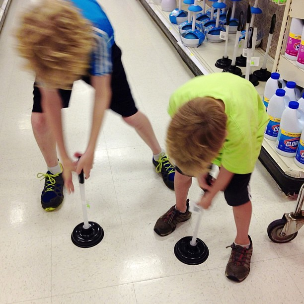 Fun in aisle A3... #boyswillbeboys