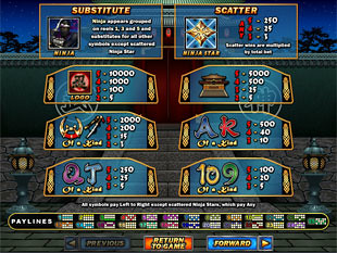Ninja Star Slots Payout