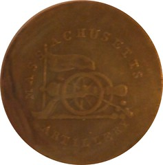 Massachusetts Artillery button struck on 1802 Large Cent