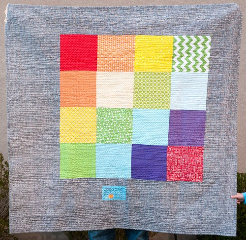 Finished Gradated Mod Mosaic Quilt Back