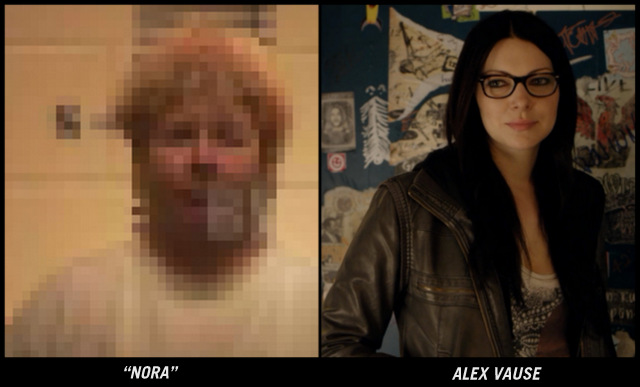 a blurry photo of Nora versus the character alex