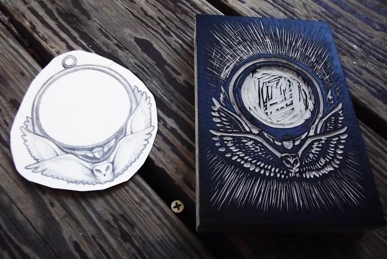 Owl Linoleum Cut