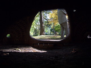 Looking through the holes in the back - Toledo Botanical Garden -- The Beehive