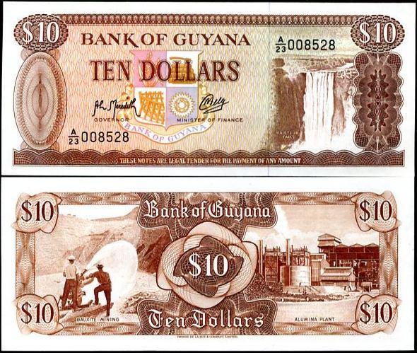 10 Dollars Guyana 1966-92, Pick 23