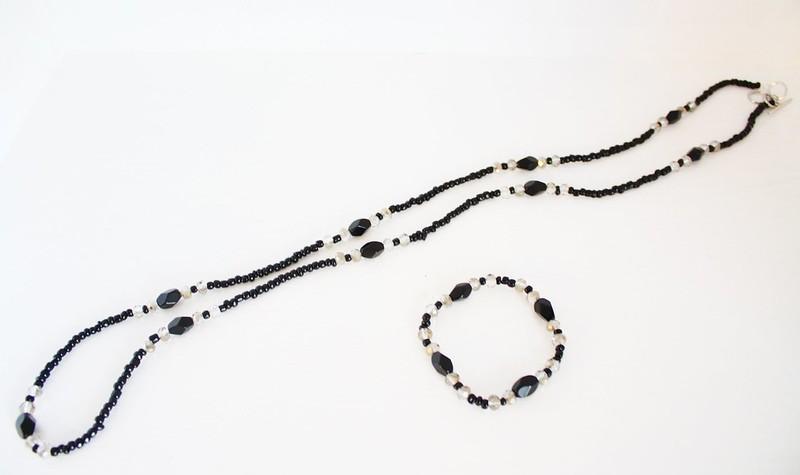 black and smoke beaded necklace-bracelet