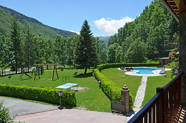Swimming pool, Hotel La Coma, Setcases, Pyrenees, Catalonia, Spain