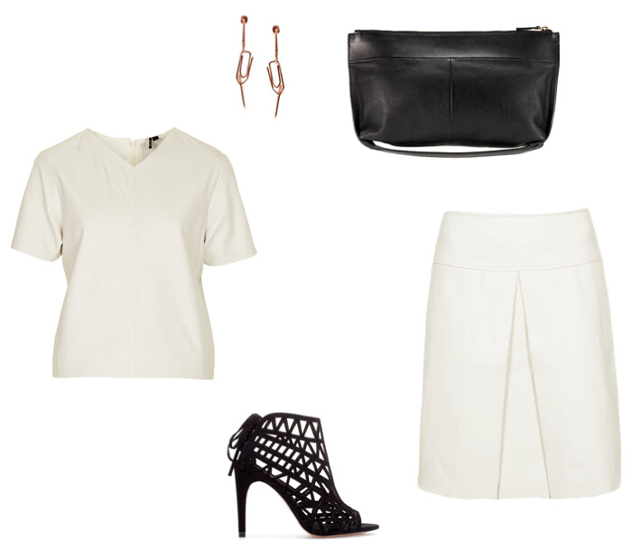 Kate Bosworth for Topshop white leather skirt, Whistles Madison clutch, Zara lattice heels