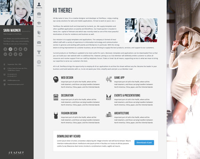 Profiler - vCard Resume Joomla Template