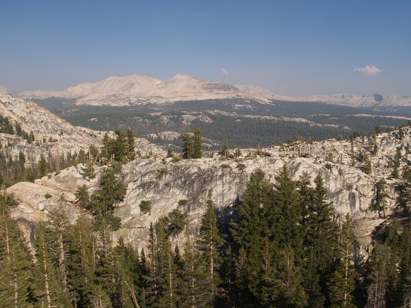 View southeast toward Sheep Peak, Mount Conness, and Ragged Peak from a promentary near Miller Lake along the PCT