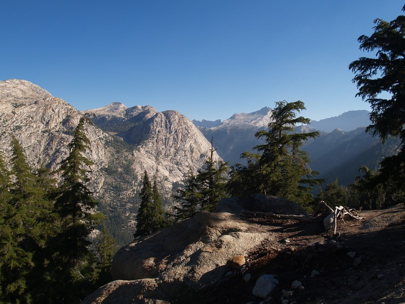 View north over Matterhorn Canyon, Quarry Peak, the Sawtooth Ridge, Whorl Mountain, and Twin Peaks