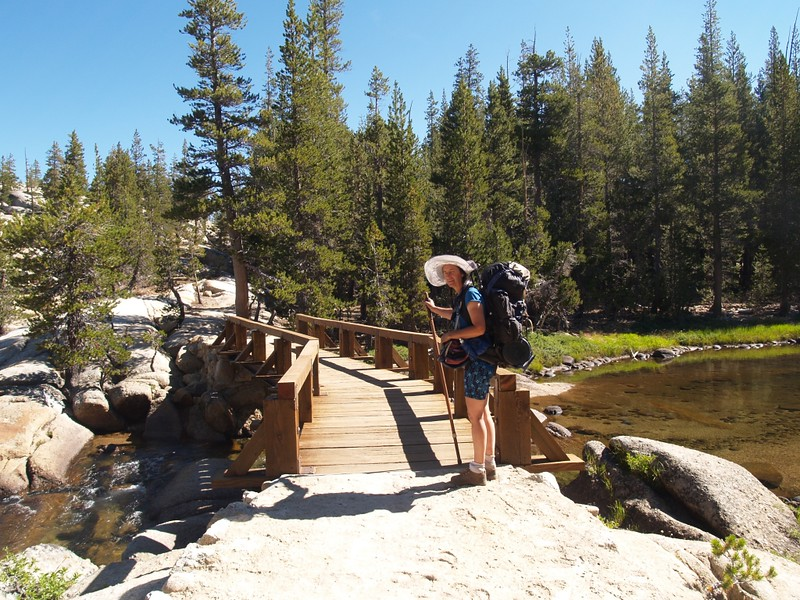 New wooden footbridges crossing the Tuolumne River about a half mile above Tuolumne Falls on the Pacific Crest Trail (PCT)