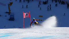 Marie-Michele Gagnon charges a gate in the giant slalom in Solden, AUT.
