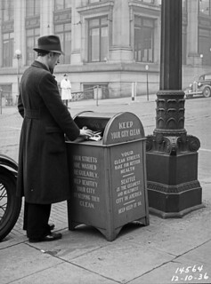 Downtown trash can, 1936
