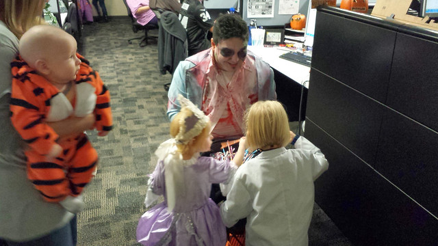 Trick or treating at Grandma's work