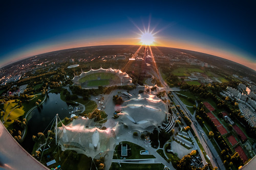 sunset panorama germany munich bavaria nightshot fisheye olympiaturm olympiapark geaorgbrauchlering