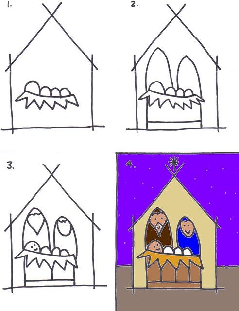 Drawing a Nativity Scene for Kids   Art for Kids