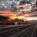 Sky on fire, train tracks to infinity. Late afternoon on the edge of the Winter Solstice. Tübingen, #Germany