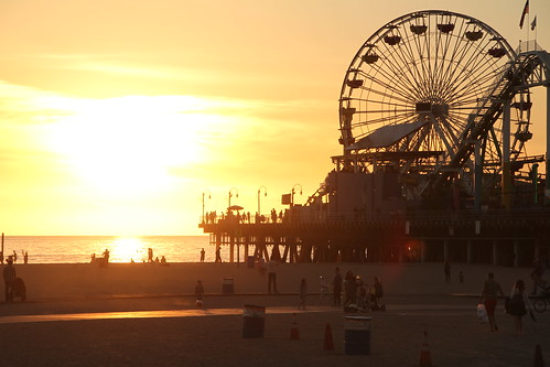 ocean california santa sunset sea sky orange color beach water wheel silhouette yellow clouds sunrise landscape los view angeles ferris monica nola {vision}:{sunset}=0893