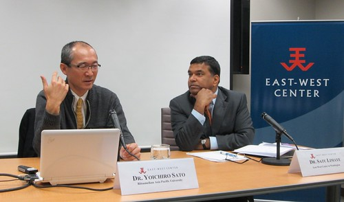 East-West Center in Washington Director, Dr. Satu Limaye (right) looked on as Dr. Yoichiro Sato (left) engaged members of the audience in a passionate Q&A dialog on a range of topics