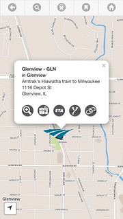Glenview Amtrak station on the map.