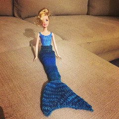 So tonight I knitted a mermaid tail for a Barbie.  :0