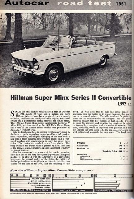 Hillman Super Minx Convertible Road Test 1964 (1)