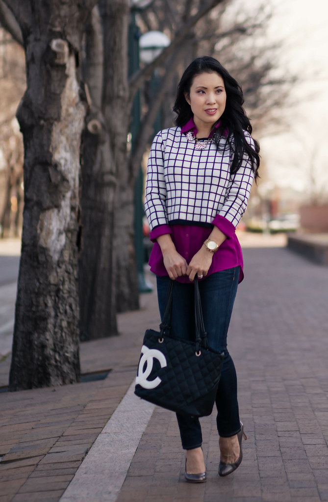 cute & little blog   cropped top layering outfit   windowpane crop top, radiant orchid shirt, chloe + isabel necklace, chanel tote