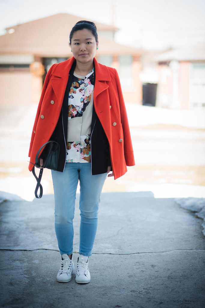 orange coat and floral blouse 02