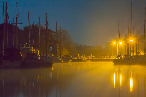 light mist night boats canal soft moody lock reflected exeter turf