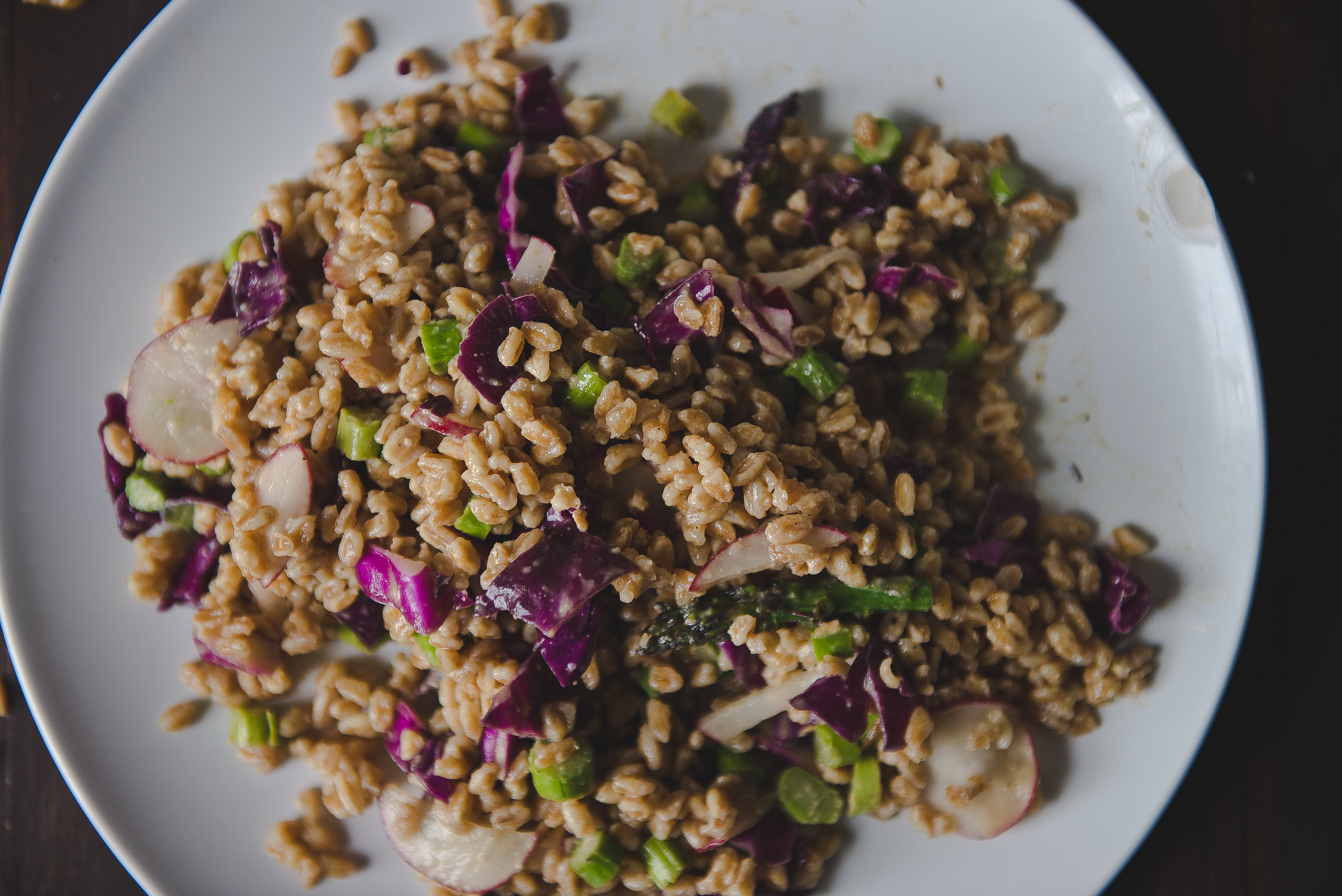 Farro & asparagus salad with sesame-miso dressing.