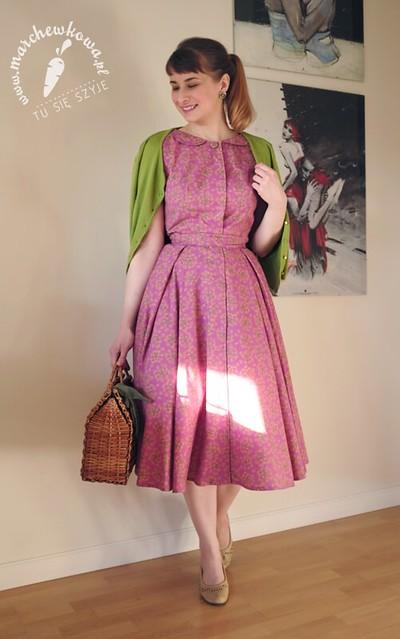 marchewkowa, blog, style, retro, vintage, 50s, 60s, dress, Burda Moden, cotton, kreton, CottonBee.pl, szycie, krawiectwo, sewing, dill flowers