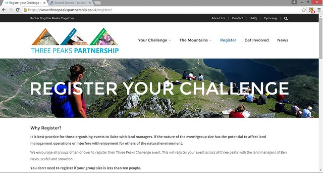 The Three Peaks Partnership offers registration to larger groups