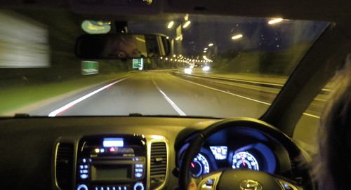 1816 Night drive across North Wales A55