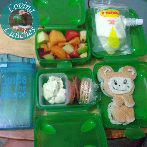 Loving sibling rivalry… Honey had this box today and now Miss m wants it back! Fruit salad, @sinchies yoghurt pouch, #CuriousGeorge inspired @cutezcute sandwich, dip/crackers/pepperoni and #juiceinthebox juice. @nudefoodmovers @smashenterprises @boardwalk