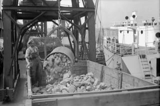 Unloading chromite into railway waggons