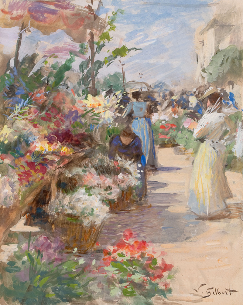 The Flower Market by Victor Gabriel Gilbert