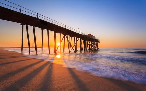 seascape beach sunrise landscape coast pier newjersey nj clear sunburst belmar jerseyshore atlanticocean canon1740l canon5dmk2 fishingpeir belmarfishingpier