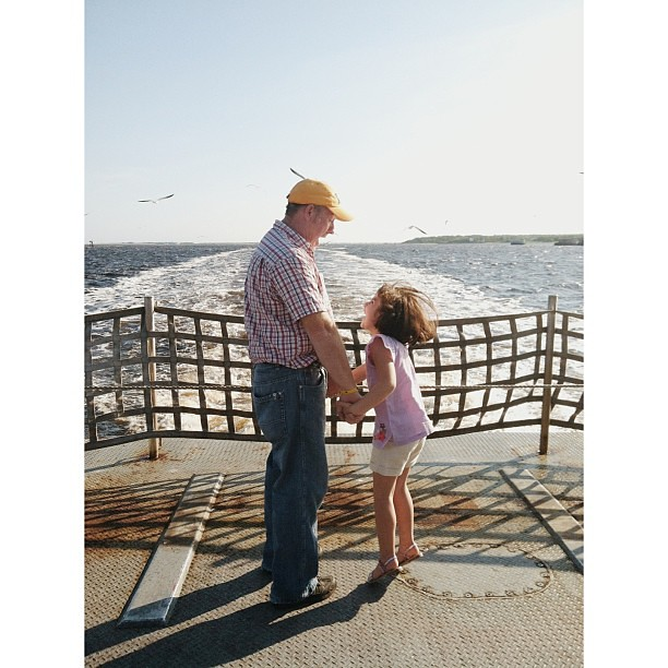 Lil' Miss and her Daddy ride the ferry!