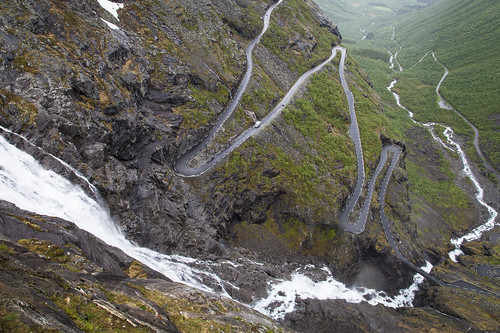 The Trollstigen Road and Stigfossen Waterfall