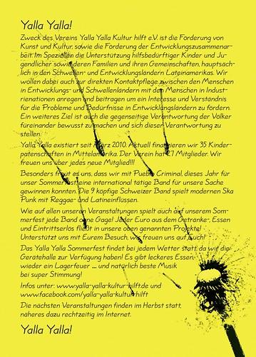 Yalla Yalla Sommerfest 2013 - Flyer Back - 03.08.2013 - PUEBLO CRIMINAL