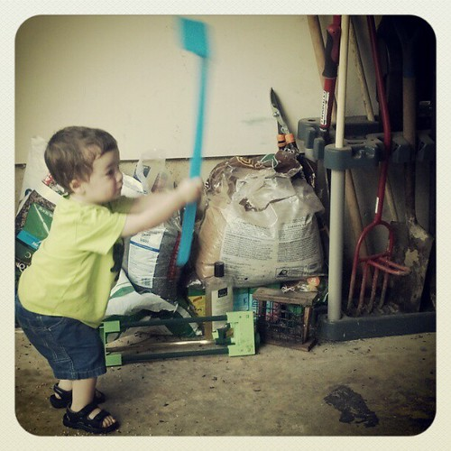 "I let Sagan strike his toy garden tools against the garage floor.  As he was playing I encouraged him.  ""You are good at smacking that hoe!""  Then I realized how awful that sounded.  :)"