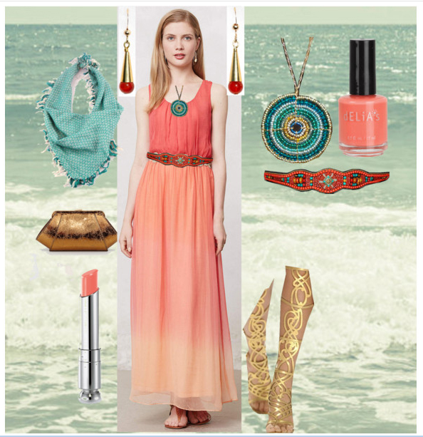 Coral Ombre Dress on Polyvore
