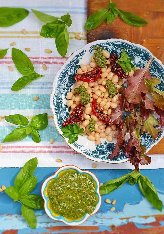 beans and pesto salad