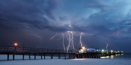 sunset storm tampa landscape photography evening pier nikon unitedstates florida bolt strike thunderstorm lightning d800 thunderhead redingtonshores redingtonbeach andrewvernon andrewvernonphotography