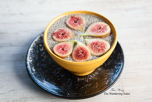 Almond milk (from O Milk) chia seed pudding topped with fresh figs from my garden