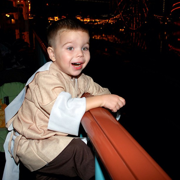 "Mickey's Treat 2008 @DCAToday. A Throw Back Thursday photo of my Jedi watching California Screamin' take off! It gets me excited for tomorrow night's ""Mickey's Halloween Party"" @Disneyland #HalloweenTime #TBT #JustGotHappier #Disneyland #Jedi"