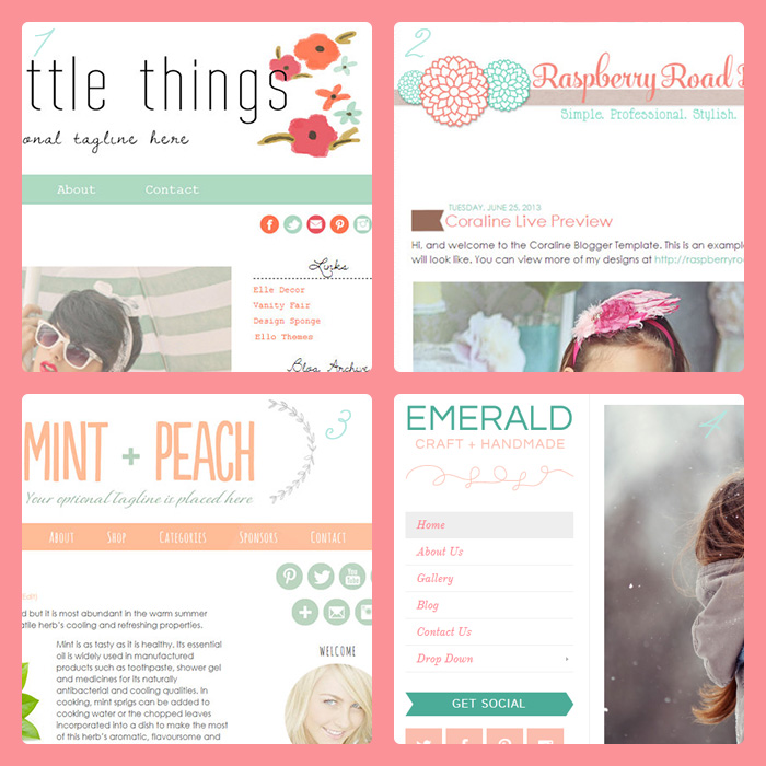 Mint  + Coral Blogger templates + WordPress themes
