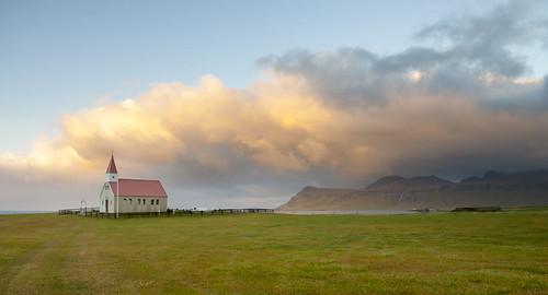 sunset church atardecer iceland islandia iglesia brimilsvellir