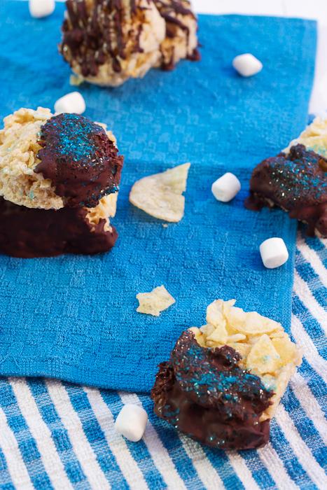 Chocolate Dipped Potato Chip Rice Krispie Treats #SundaySupper